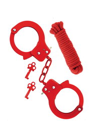 Metal cuffs & rope red