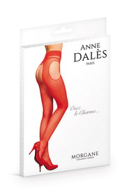 Collant anne d ales morgan ouvert rouge