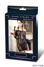 Robe anne d ales fetish dinner en résille noir