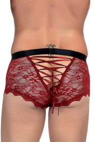 Boxer homme bordeaux dentelle paris hollywood